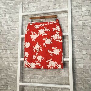 Talbots Red and White Floral Pattern Pencil Skirt